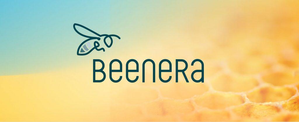 BEENERA Logo mit Waben im Hintergrund